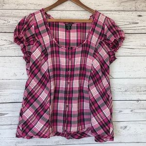 Torrid Pink Plaid Short Sleeve Blouse Size 2X